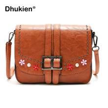New Women Messenger Bags 2019 Casual Shoulder Bag Female Handbag Vintage Small Rivet Pu Leather Crossbody Bag for Girls стоимость