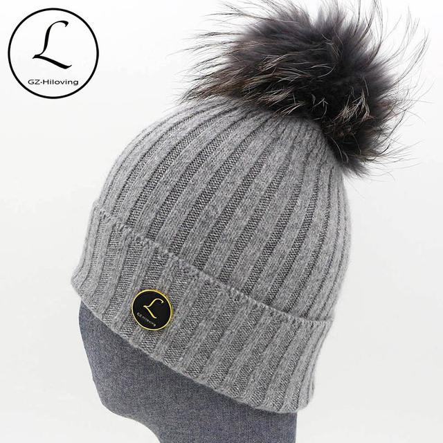 Sombrero caliente del Invierno de Punto Sombreros de la Marca de Diseño de Rayas Para Las Mujeres puro Color Capó Tapa de Cobertura Con Pompón de piel de Mapache Real 6919