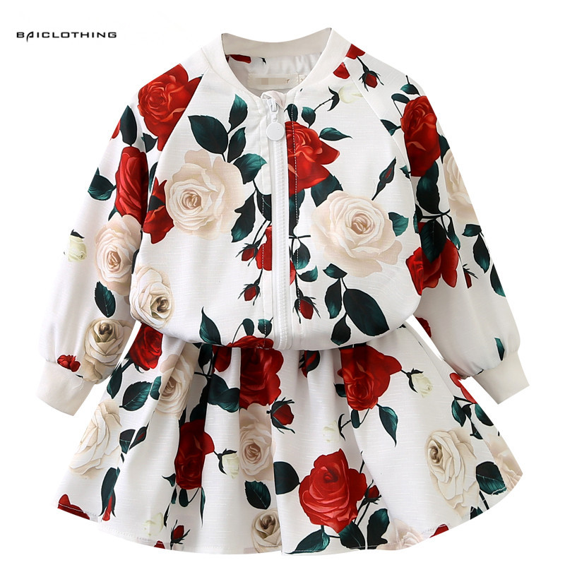 2017 Fashion Girls Children Clothing Sets Girls Clothes Beautiful Long Sleeve Rose Print Jacket+Skirts 2Pcs Kids Girls Suits garyduck girls clothing sets kids knitted suits long sleeve houndstooth tops skirts 2pcs for girls suits