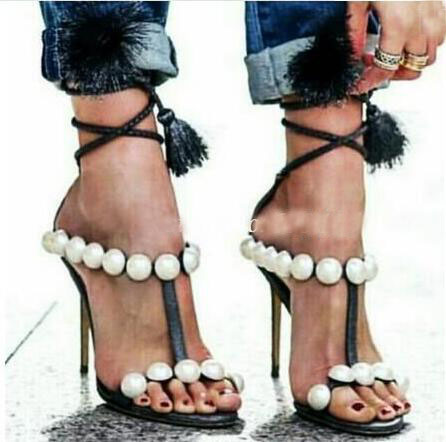 2017 Summer Women Fashion Pearl Black Tassel Fringed Open Toe 100 mm Heel Lace Up High Heel Party Dress Sandals Shoes Lady black sequins embellished open back lace up top
