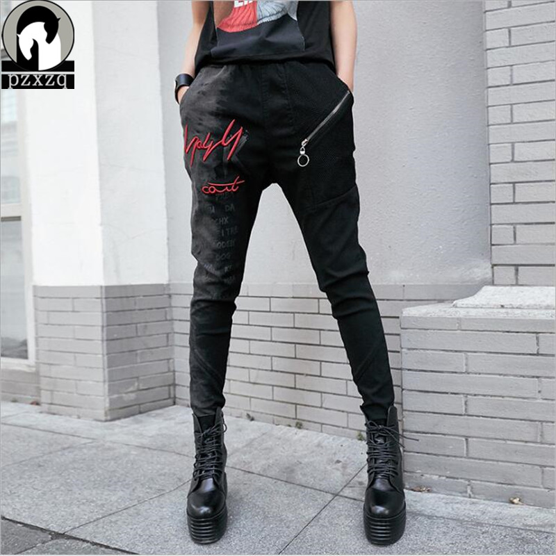 2019 Autumn Spring Womens Long Pants High Waist Hip-hop Punk Style Zipper Solid Trousers Casual Pockets Slim Pencil Pants Capris