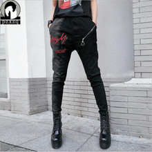 2019 Autumn Spring Womens Long Pants High Waist Hip-hop Punk