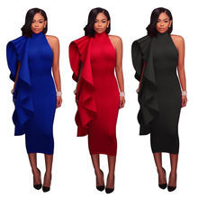 Solid Color Ladies Ruffled Midi Dress One-shoulder High-neck Tight-fitting Fashion Dress Club Evening Party Evening Dress mesh shoulder form fitting dress