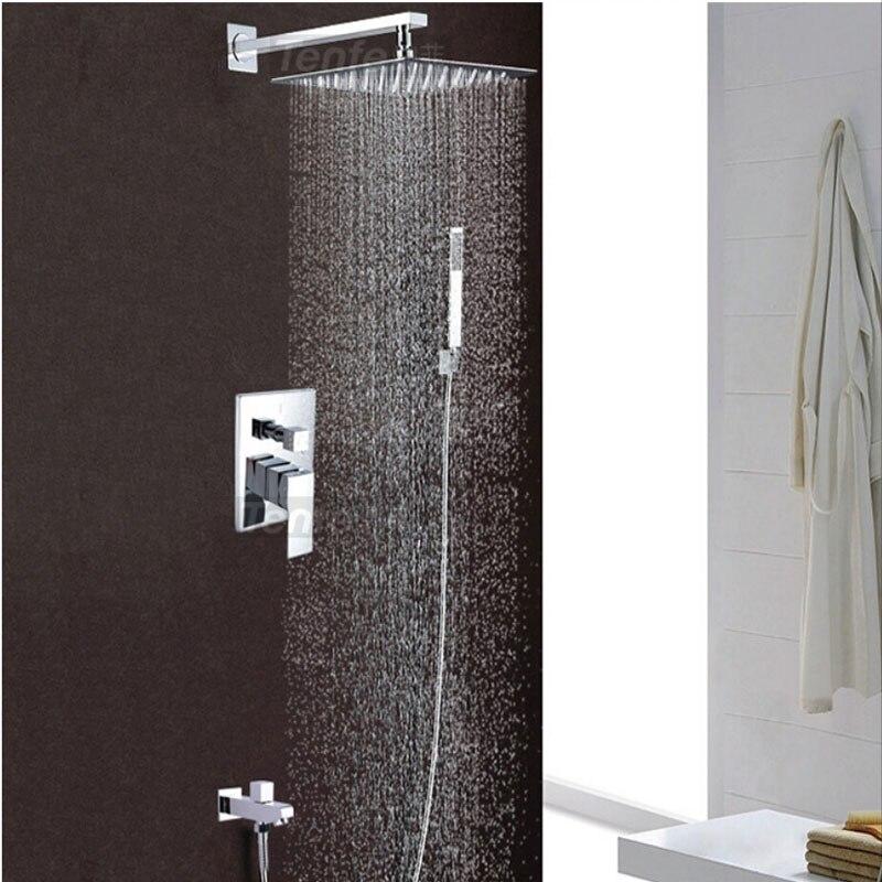 Wholesale And Retail Modern Rain Shower Faucet Set Chrome Brass Shower Mixer Tap Tub Spout W/ Hand Shower 8
