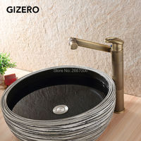 GIZERO 360 Degree Rotatable Antique Bronze Bathroom Vanity Sink Faucet Deck Mount Tall Mixer Taps With