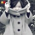 AD детская Мода Шерстяной Хлопок Бархат Утолщение Сплошной Серый С Капюшоном Пальто Комфорт девушки И Пиджаки для 3-10 Лет Ребенок