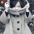 AD Children's Fashion Woolen Cotton Blend Velvet Thickening Solid Gray Hooded Coat Comfort Girl's Outwear for 3-10 Years Old Kid