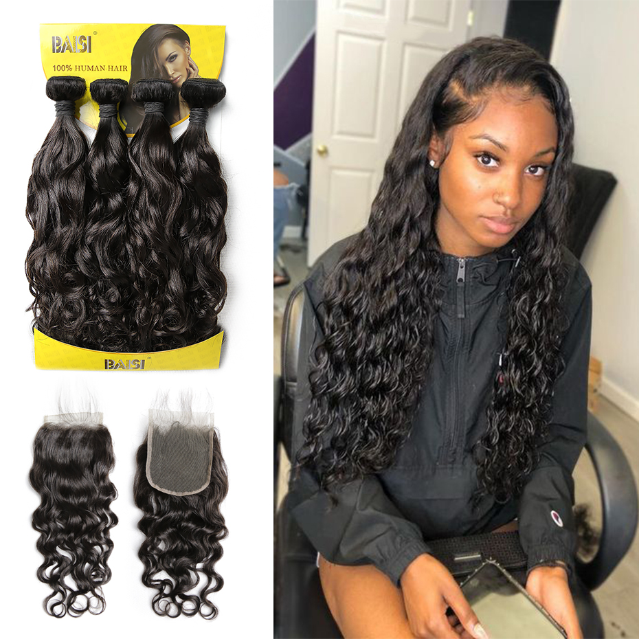 BAISI Brazilian Human Hair Water Wave Hair 4 Bundles With Closure Unprocessed Virgin Hair Bundles With Closure