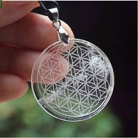 35mm Clear Natural Quartz Crystal Flower Of Life Pendant Carved Healing 19g