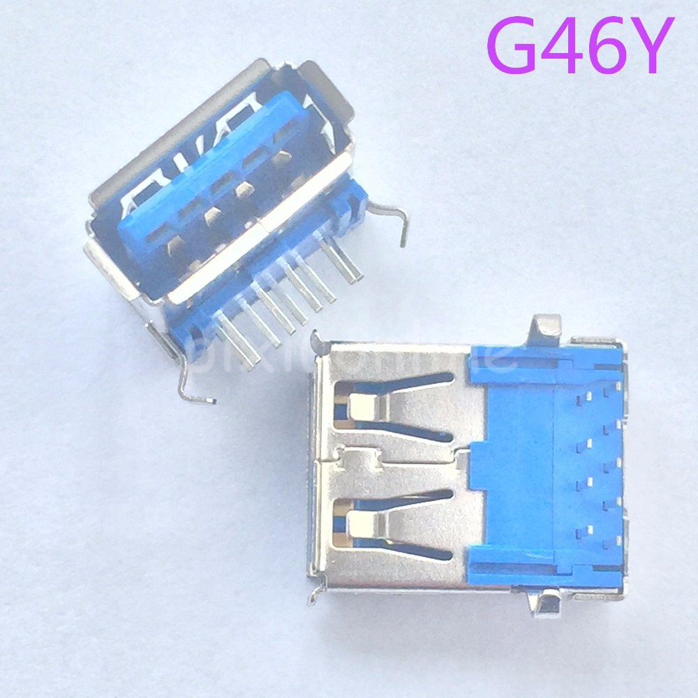 5pcs G46Y USB 3.0 A Type Female Socket Connector for High-speed Data Transmission Free Shipping France 10pcs g55 usb 2 0 4pin a type female socket connector curly mouth bent foot for data transmission charging sell at a loss usa