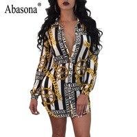 Abasona Chain In Shirt Dress Nữ Dài Sleeve Rẽ Xuống Cổ Áo Đảng Dresses Casual Loose Thống Ngắn Club Dress N