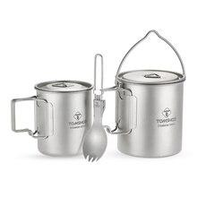 TOMSHOO 3Pcs Set Titanium Pot Water Mug Cup Lightweight Mug Outdoor Camping Pot Picnic Hang Pot Cooking Pots with Folding Spork цена