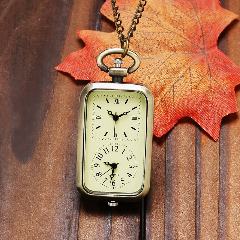 Antique Rectangle Dial Quartz Pocket Watch Double Time Display Fob Clock With Necklace Chain Bag Men Women Gift P11 antique gear roma numbers glass dome quartz pocket watch steampunk fob clock with necklace chain men women gift free shipping