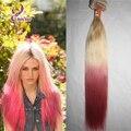 Belleza y encanto ombre rubia rosa clip en el cabello humano recto 100 g/set 7 unids clip en el pelo virginal sin procesar extensión