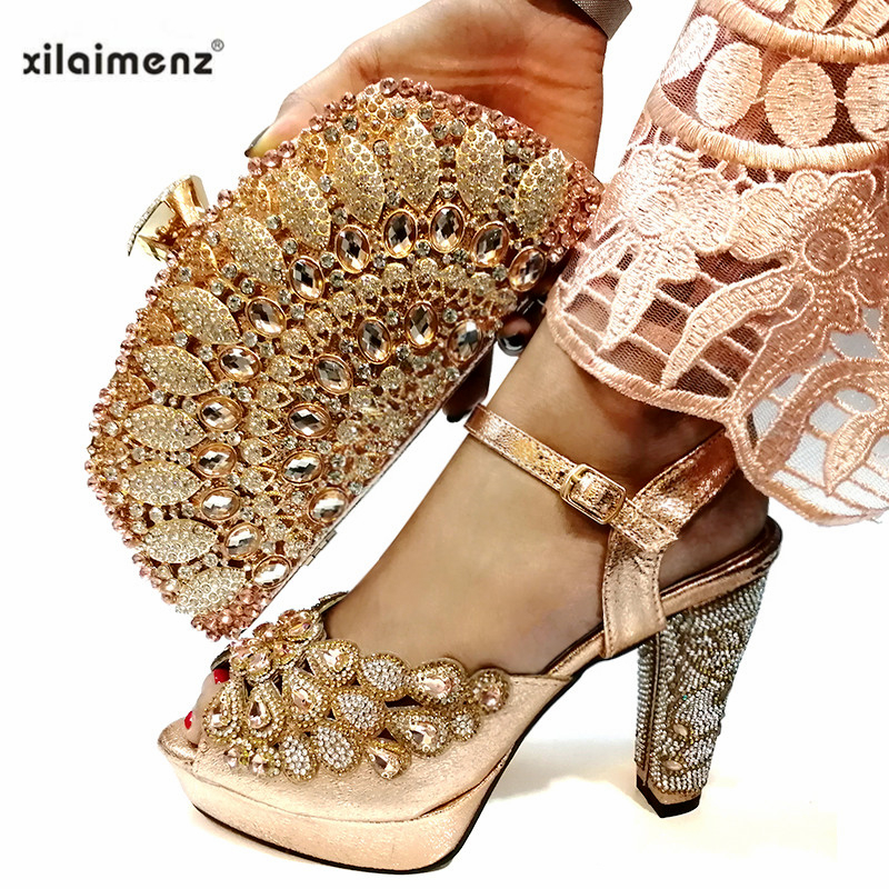 Peach Fashion Wedding Shoes and Bag to Match Italian Woman Shoes And Matching Bag Set African