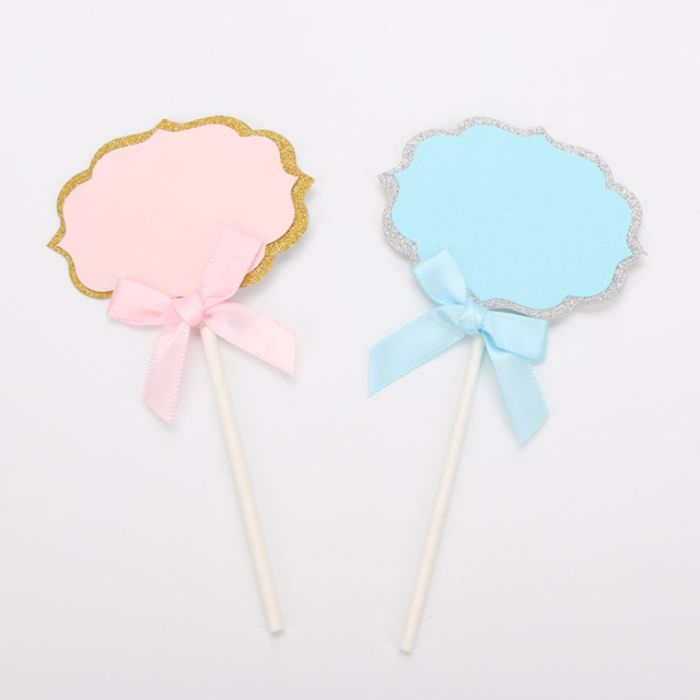 Pink Blue Blank Dialog Box Cupcake Topper With Bow Wedding Birthday Party Decorations Cake Decorating Picks Supplies