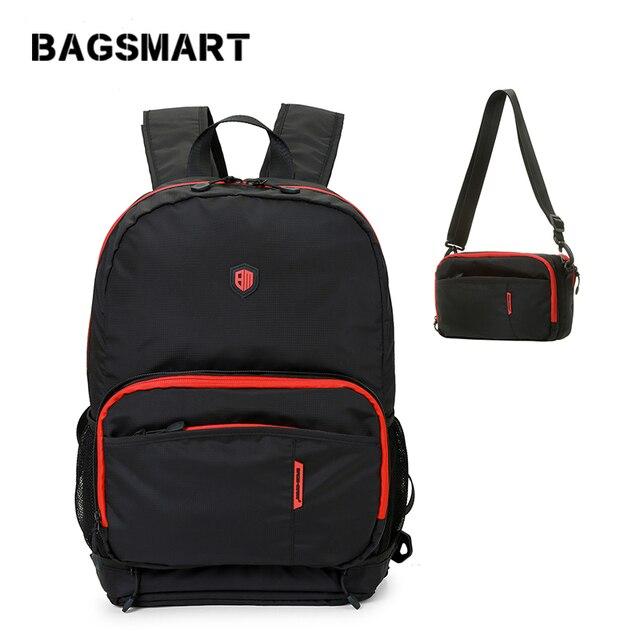 BAGSMART Waterproof Nylon Backpack Female Unisex Men's Backpack Casual Travel Foldable Backpack Shoulder Bag School Bag