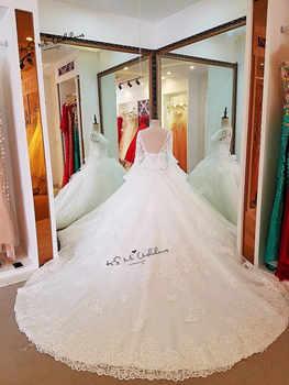Vestido de Noiva Princesa Luxury Wedding Dresses 2018 Long Sleeve Crystals Beads Wedding Gowns Sequin Sparky Church Bride Dress