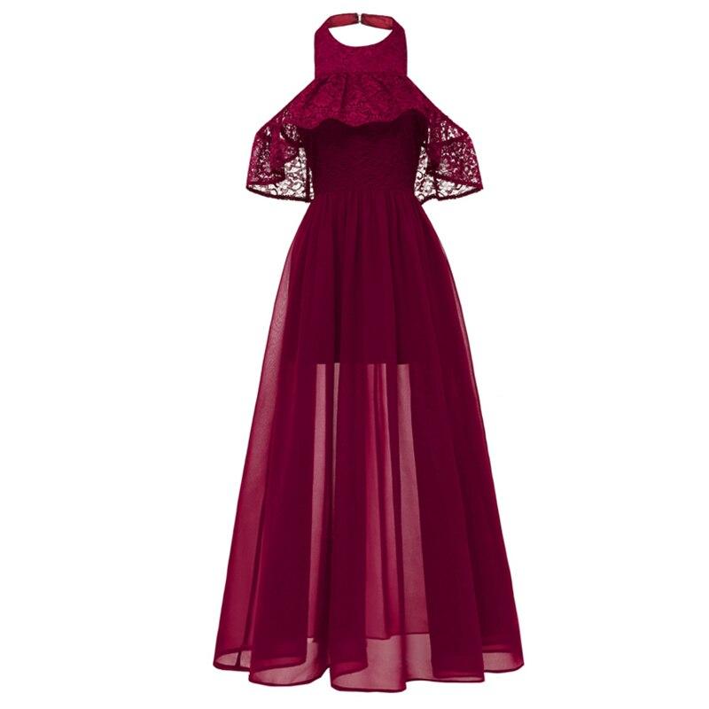 Long neck hanging Chiffon Bridesmaid Dress 2019 New Sexy Bridal maid Wedding Wedding Dance Dress Vestido