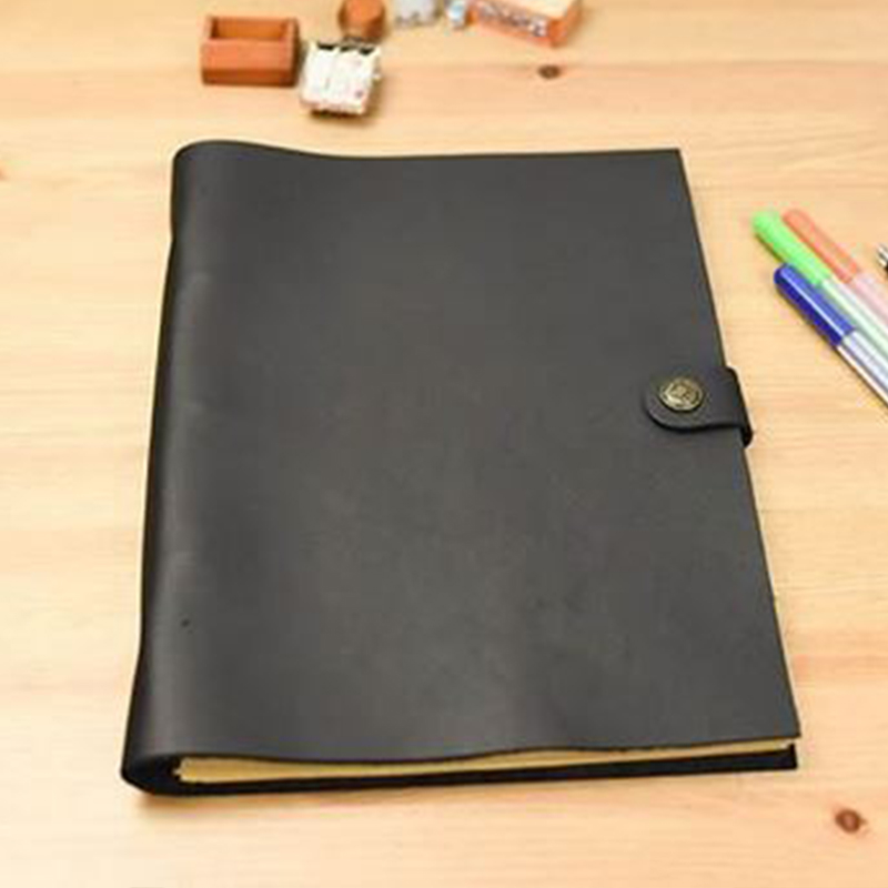 A4 Size genuine black leather cover journal Vintage style notebook pure handmade dairly planner notebooke office