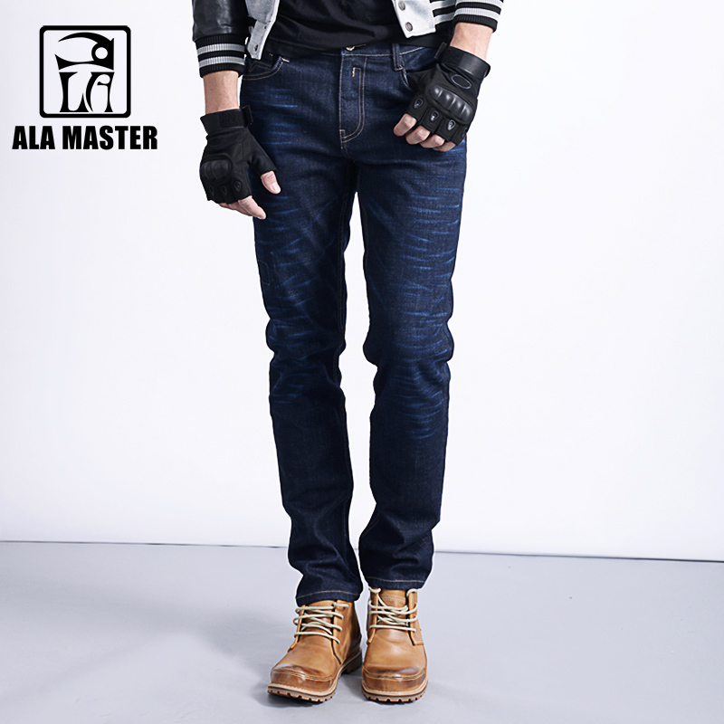 A LA MASTER Autumn Men Jeans Elasticity Straight Pleated Hole Moustache Effect Jeans Men Winter England style Male Pants jeans
