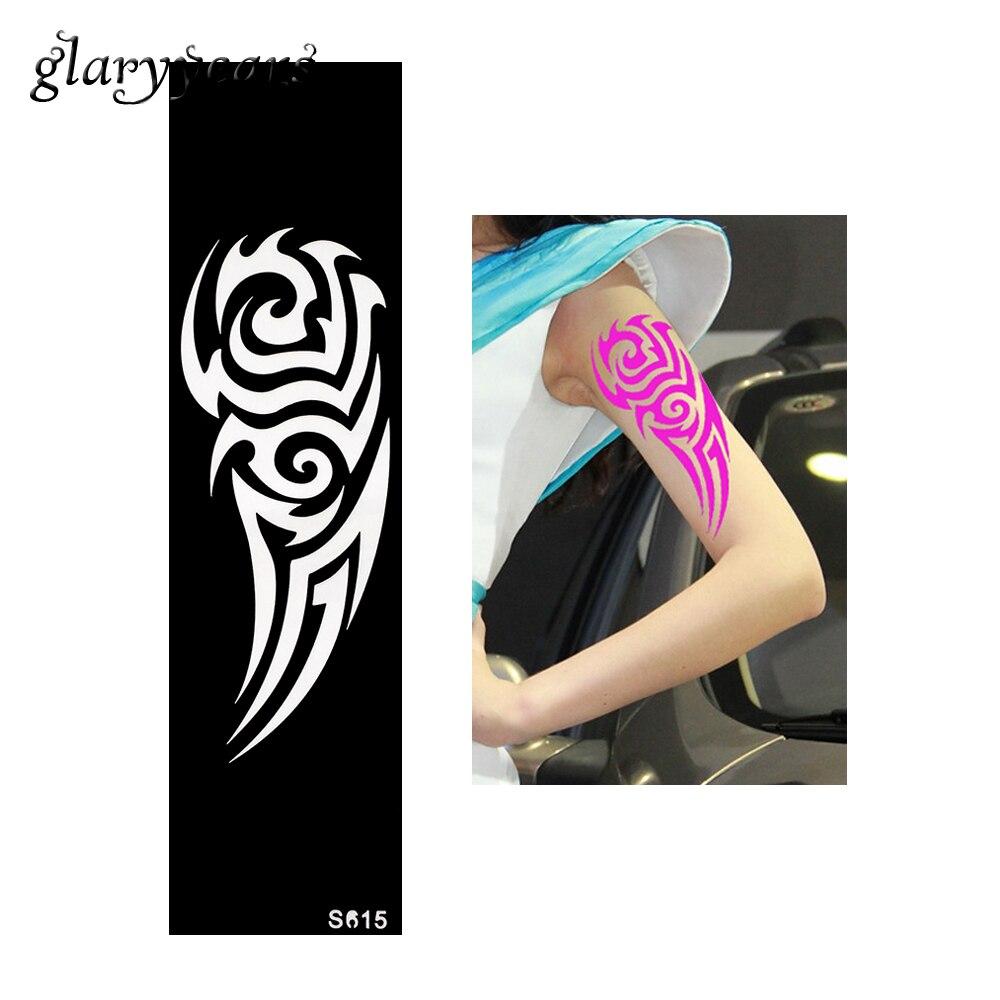 1 Piece Indian Henna Tattoo Stencil Long Strip Heart