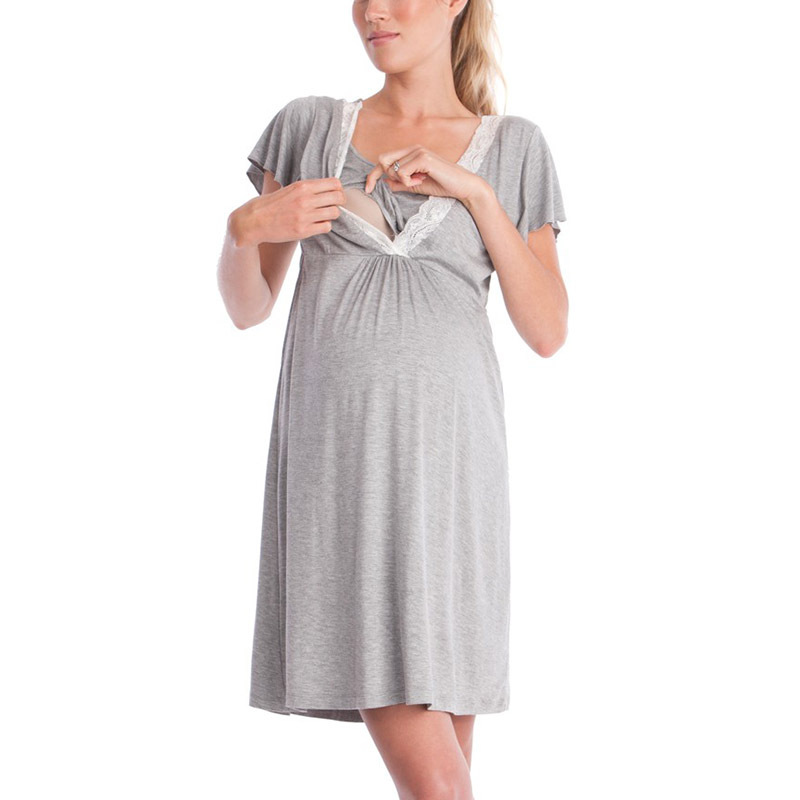 2019 Pregnancy&maternity Pajamas Sleepwear Nursing Pregnant Pajamas Breastfeeding Nightgown Elegant Maternity Nursing Dress