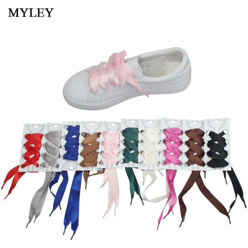 MYLEY 1 Pair  Fashion 113CM Flat Silk Ribbon Shoelaces Sneaker Sport Shoes 2cm Wide Colorful Shoe Lace for Men Women