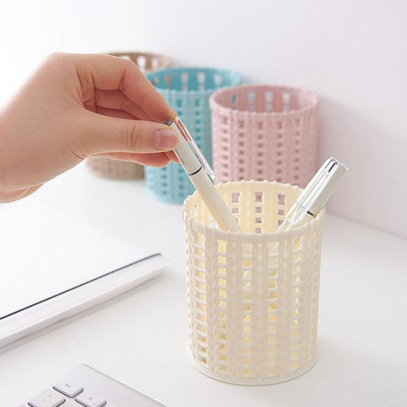 Plastic Hollow Cylinder Pen Desktop Storage Box Home Office Desk Pen Pencil Organizer Dressing Table Cosmetic Storage Box