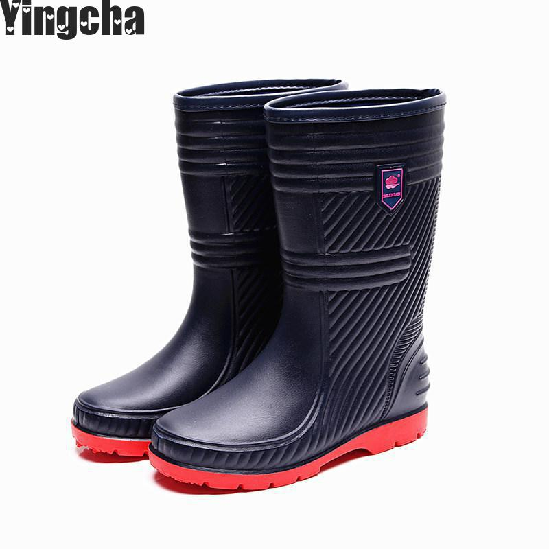 2018 New Top Rain Boots Men Bot Blue Rainshoes Galoshes Rubber Rain Boot Rain Shoes Rainboots Men Botas Femininas цена