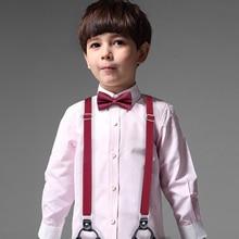 DiBanGu Lovely Children Soild Suspenders With Bowtie Set Polyester Butterfly Kids Y Back Braces Belt Bow Tie Adjustable BH 0018