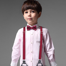 DiBanGuเด็กน่ารักSoild Suspenders Bowtieโพลีเอสเตอร์เด็กผีเสื้อY Back Bracesเข็มขัดBow TieปรับBH 0018