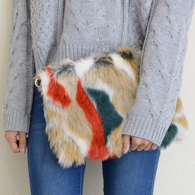 Мех животных Женские Клатчи мода панелями конверт сумка Роскошные дамы сцепления Вечерние сумки Для женщин Сумки через плечо бумажник Bolsa