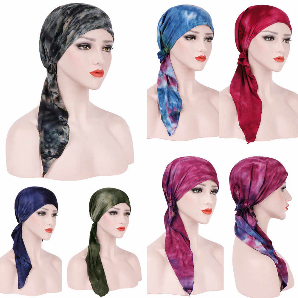 צעיפים לנשים מוסלמי צעיפי מזדמן צעיף נשים קיץ כותנה נשים הודו המוסלמי למתוח טורבן שיער ראש צעיף WrapW416