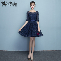 PotN Patio Navy Blue Prom Dresses Short 2017 New Sexy Backless Lace Party Homecoming Dresses Fast