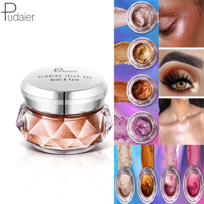 Pudaier Jelly Gel Face Highlighter Liquid Sombra Matte Body Cream Mermaid Eye Shadow Iluminador Maquiagem Cienie do Powiek