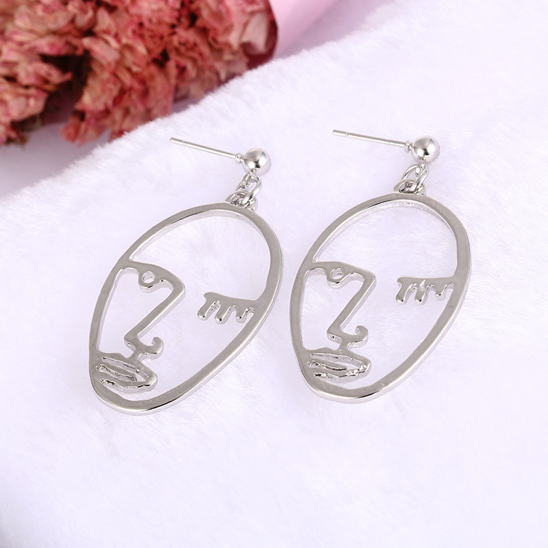 Girls Choice Earrings Retro Metal Alloy Fashion Abstract Hollow Out Dangle Earrings New earring Face 2019 New Hot03