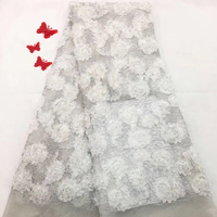2018 High Quality Guipure Cord Lace Fabric With Stones Silver Lace Fabric Gold Trim 5 yard African Dresses For Women