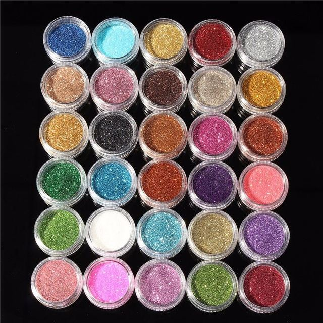 30pcs Mixed Colors Powder Pigment Glitter Mineral Spangle Eyeshadow Makeup Cosmetic Set Long Lasting 2016