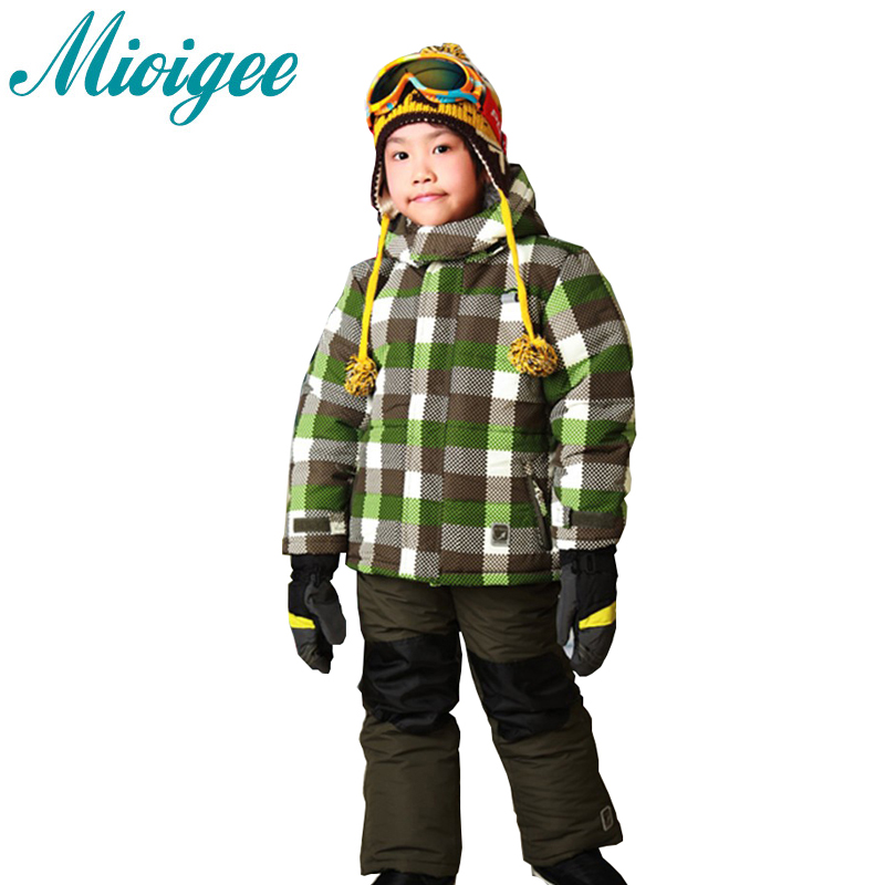 Mioigee 2017 New Children set Waterproof Sport Set baby boys ski suit Hoodie Jacket + Pants kids clothes for boys 2016 new summer baby sport suit 100