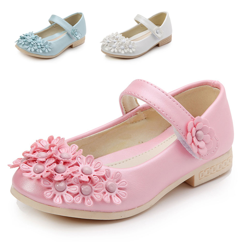 Girls shoes Floral Shoes Princess Shoes For Girl Kids Children Fashion PU Sneakers With Flowers White Blue Pink funny cute mini cartoon tpr animal jumbo squishy toy