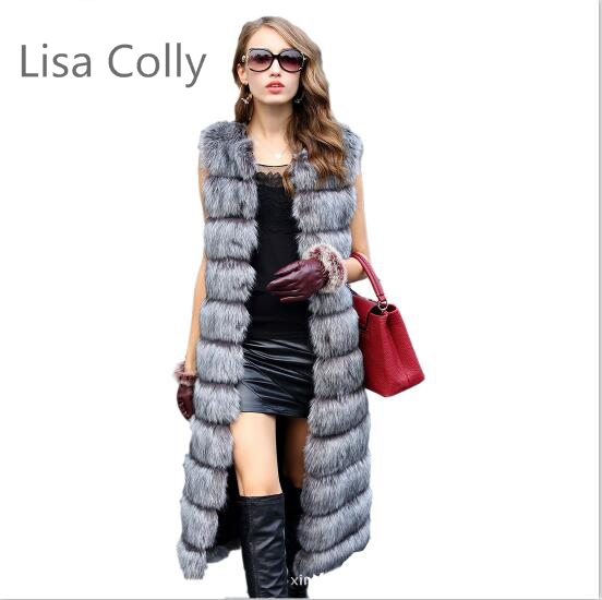 Lisa Colly Faux Fox Fur Vest Women Autumn Winter New Fashion Long Fake Fur Coat Jackets