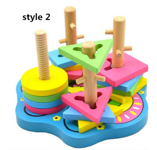 Montessori 5 pillars Topping-on Wood Game matching color shape wood block Toy