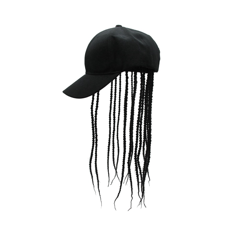 Lady Men Unisex Baseball Cap Hat with Dreadlocks Wig Hip Hop Punk Black Fashion