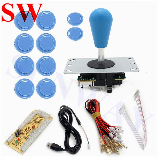 DIY Arcade Joystick Kit 5Pin Joystick Cable 24mm/30mm Buttons USB Encoder Oval ball top joystick 7 Color Optional