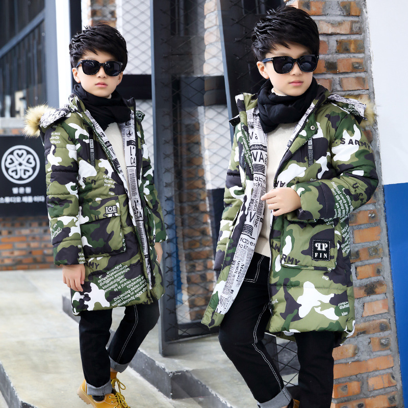 Boys Camouflage Cotton Long Thick Warm Winter New Cotton Padded Jacket Hooded Kids Coat Clothing Fur