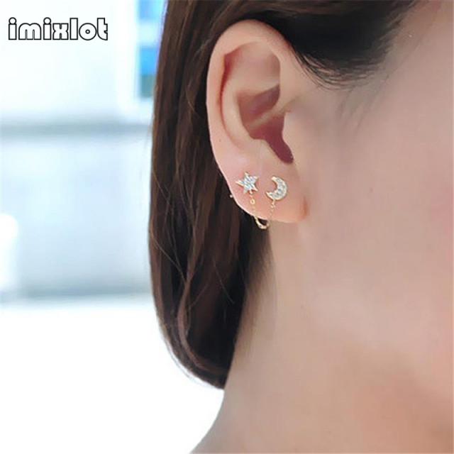 2017 Limited Sale Star Rhinestone Trendy Zinc Alloy Women Earings Brincos 1 Two Piercing Ear Cuff Ring Chain Double Earring