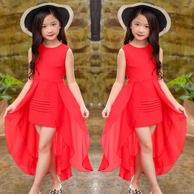 Big Girls Chiffon Dress 2018 Summer Sleeveless Irregular Elegant Princess Party Dresses 5 6 7 8 9 10 11 12 Years Kids Clothes(China)