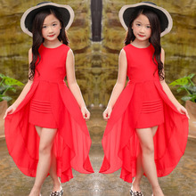 Big Girls ชุดชีฟองฤดูร้อน 2018 แขนกุดไม่สม่ำเสมอ Elegant Dresses 5 6 7 8 9 10 11 12 ปีเด็กเสื้อผ้า