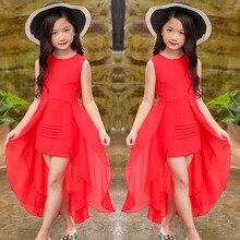 Grandi Ragazze Vestito Chiffon 2018 di Estate Senza Maniche Irregolare Elegante Principessa Vestiti Da Partito 5 6 7 8 9 10 11 12 anni di Abbigliamento Per Bambini